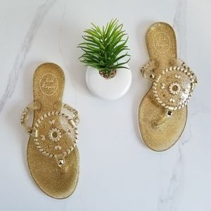 Jack Rogers Sparkle Georgica Gold Jelly Sandals
